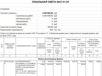 ЛОКАЛЬНАЯ СМЕТА №07-01-05