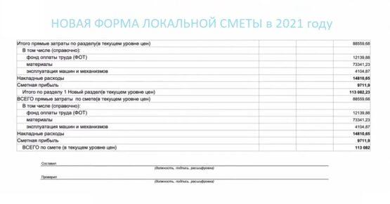 Новая форма сметы 2021