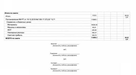 форма локального сметного расчета до 2021 года